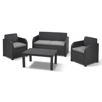 ALLIBERT CAROLINA wicker lounge set - stol sa dva naslonjača, jastuci