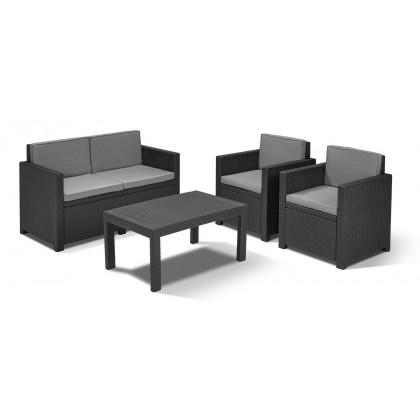 ALLIBERT VICTORIA LOUNGE GARNITURA - stolić, dvosjed, 2 stolice, 8 jastuka