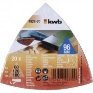 KWB Samoljepivi brusni papir za drvo i metal, trokutni 96 mm, 20/1, QUICK-STICK, SPARPACK