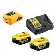 DeWalt DCB115P2  DCB090  Baterije 2x5 Ah + punjač + USB adapter